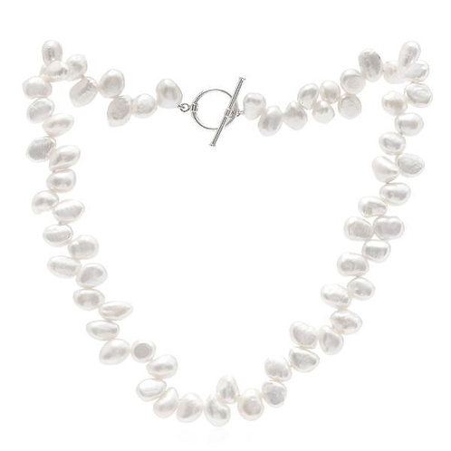 Side Drilled White Pearl Necklace