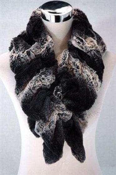 Black Faux Fur Two Tone Pull Through Scarf