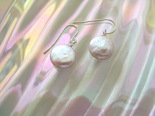 Pink Pearl Coin Earrings
