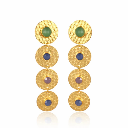 Gold Disc Drop Earrings With Crystal Quartz