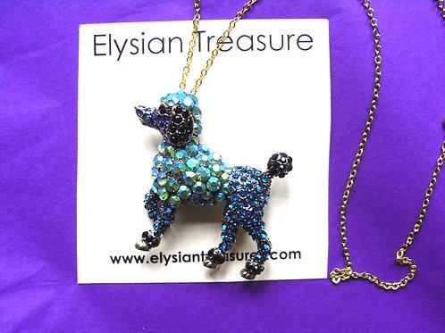 Crystal Poodle Brooch/Necklace