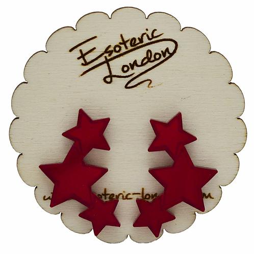 Esoteric Red Triple Star Earrings