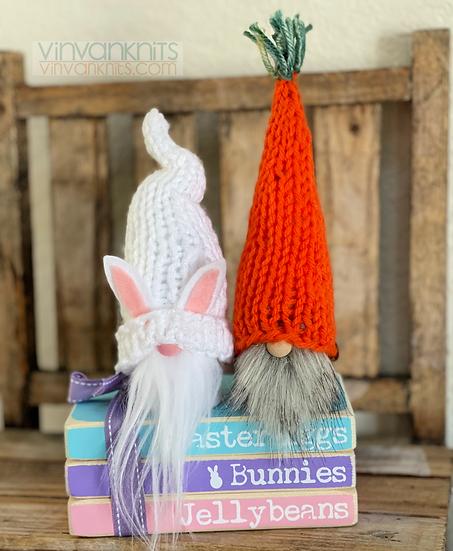 Mini White Bunny and Carrot Gnomes