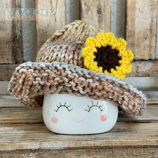 Sunflower Floppy Marshmallow Mug Hat