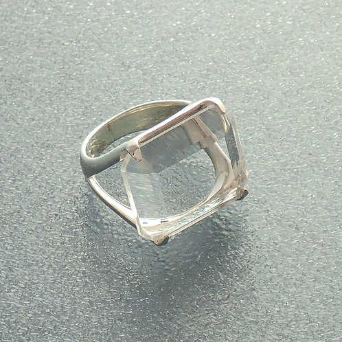 Square Smokey Quartz Ring