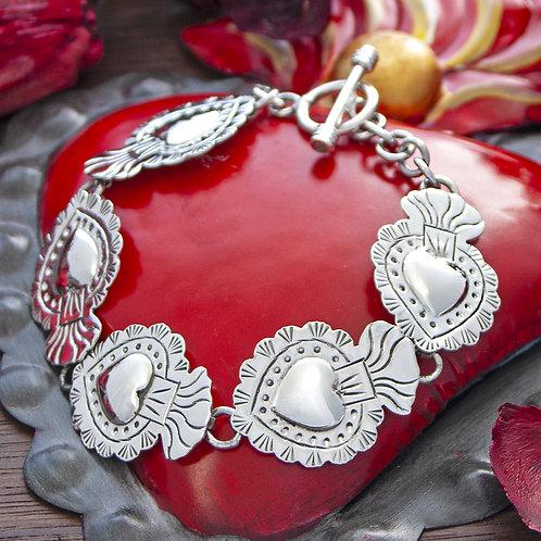 6 hearts silver bracelet
