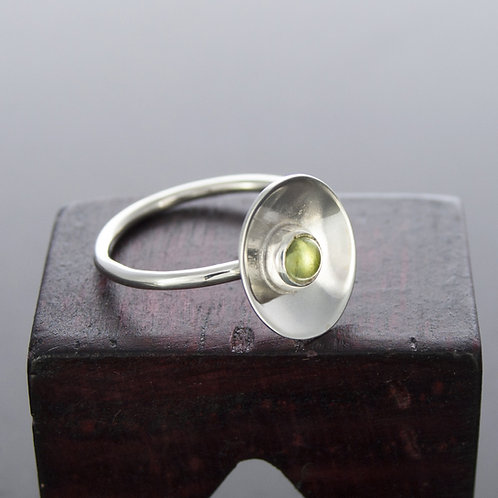 Silver Peridot Oval Ring