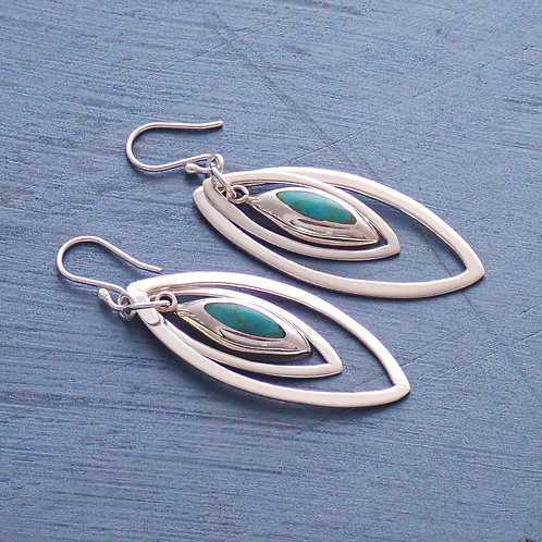 Hanging Silver & Turquoise Domes
