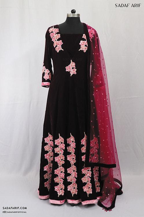 Wine Velvet Kalidar Gown