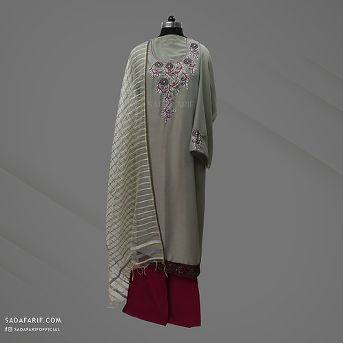 Teal Green Hand Embroidered Kurta Set (Stitched/Unstitched)