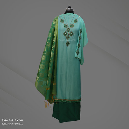 Green Hand Embroidered dress (Stitched/Unstitched)
