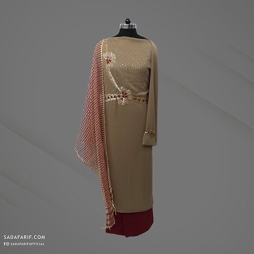 Light Brown Hand Embroidered dress (Stitched/Unstitched)