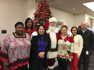 Santa at office party
