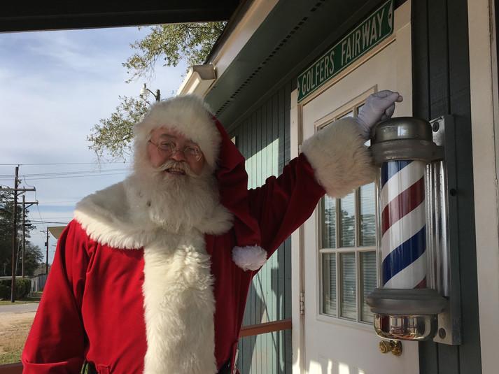 Santa at the barber shop