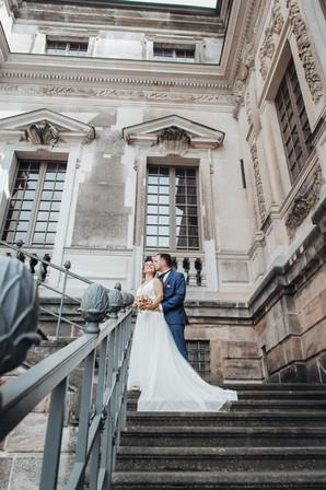 Vintage Hochzeit Dresden treppen gärten