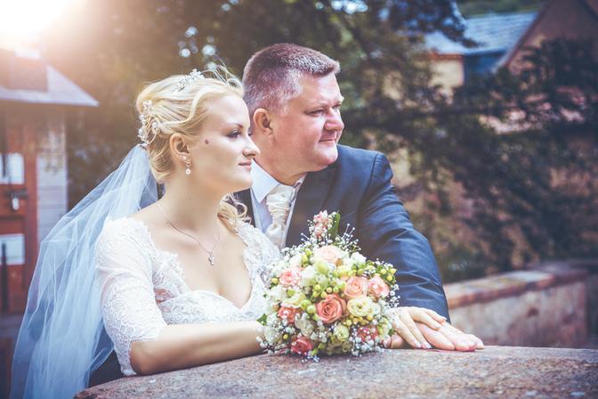 Brautpaar auf Schloss Kriebstein