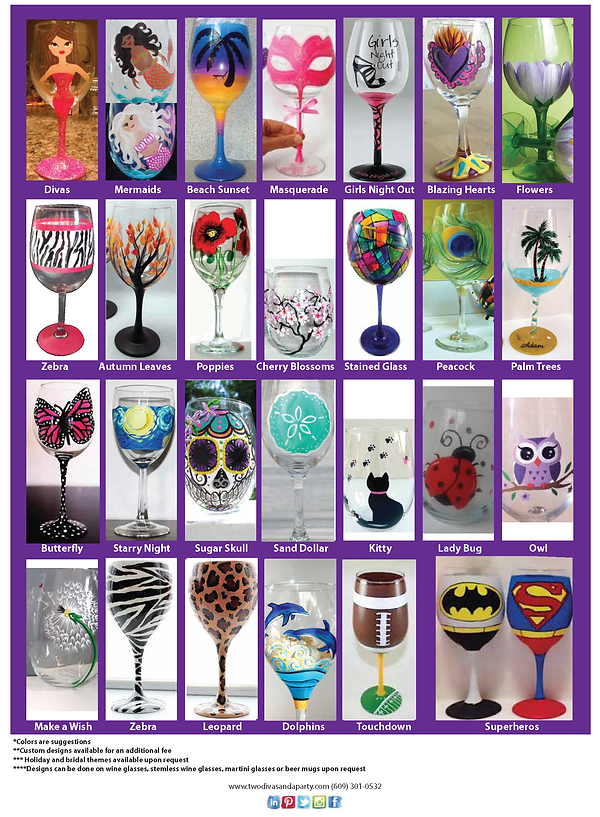 Wineglass Painting Designs