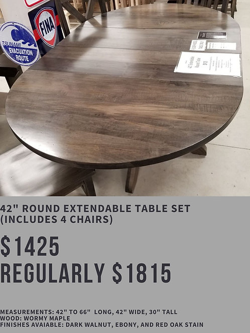 """42"""" Round Extendable Table Set (4 chairs)"""