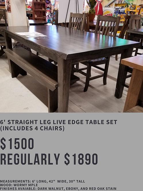 6' Straight Leg Live Edge Table Set (4 chairs)