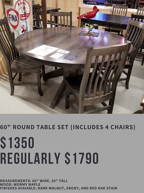 """60"""" Round Table Set (4 chairs)"""