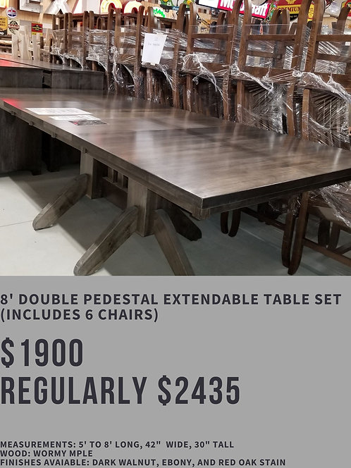 8' Double Pedestal Extendable Table Set (6 chairs)