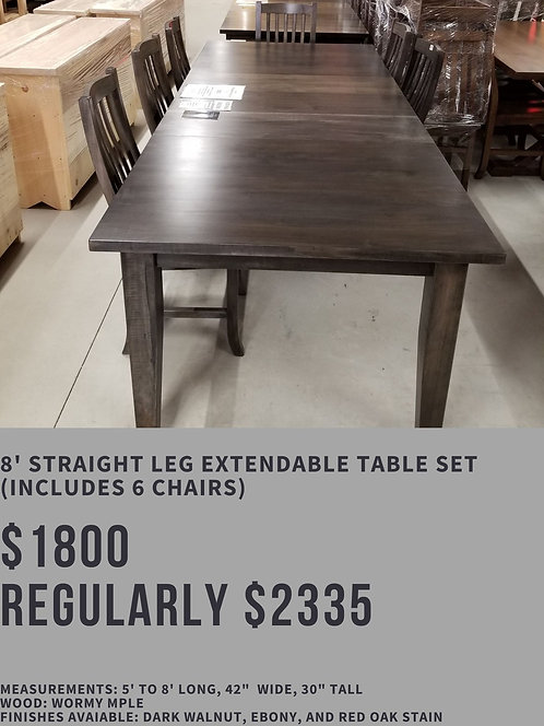 8' Straight Leg Extendable Table Set (6 chairs)
