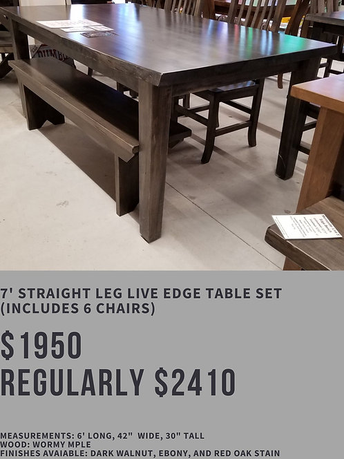 7' Straight Leg Live Edge Table Set (6 chairs)
