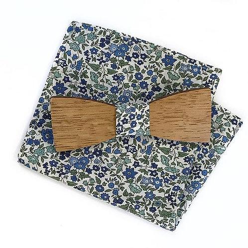 Noeud Papillon Bois Pochette de costume tissu assorti