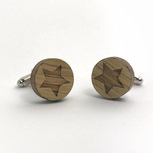 Boutons de manchettes en bois motif etoile