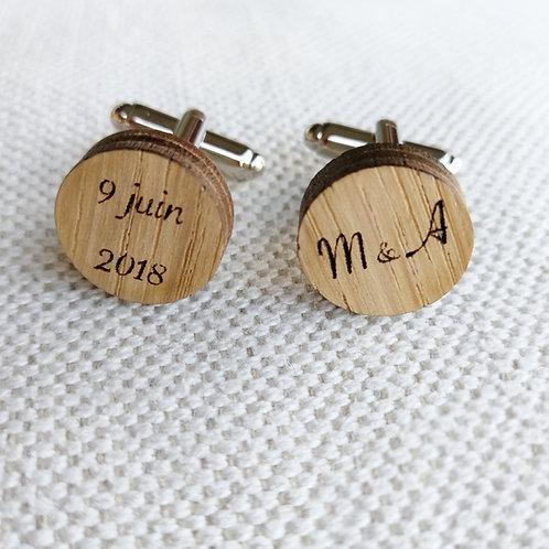 Boutons de manchettes en bois personnalisés mariage