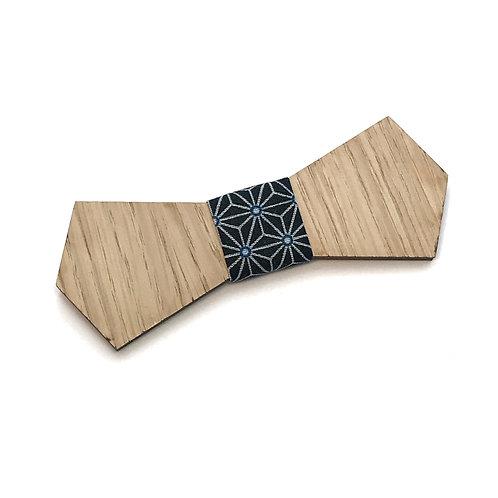 noeud papillon bois tissu japonais bleu marine