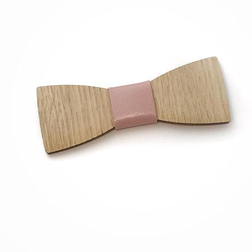 Noeud Papillon en bois Le Dandy, chêne, cuir