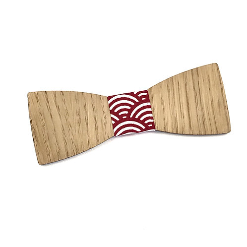 """Nœud Pap """"Le Dandy"""" - Chêne et tissu japonais motif traditionnel rouge"""