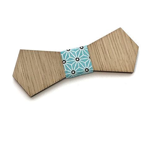 noeud papillon bois tissu japonais bleu turquoise
