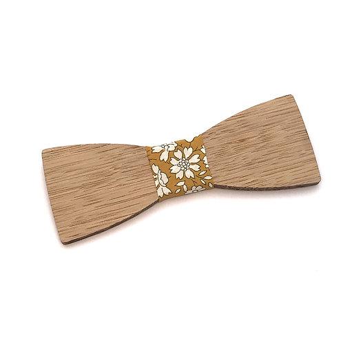 Noeud Papillon en bois Le Dandy, chêne massif recyclé, cuir