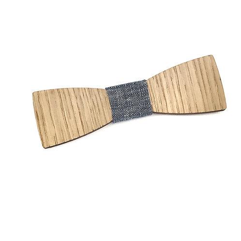 "Nœud Pap ""Le Droit"" - chêne et tissu chambray bleu marine"