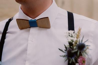 Noeud papillon mariage cuir bleu et bois