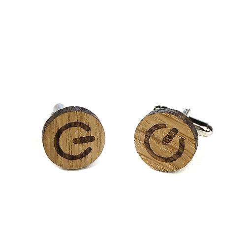 Boutons de manchette en bois motif On / Off - Start