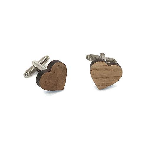 Boutons de Manchette bois Coeur