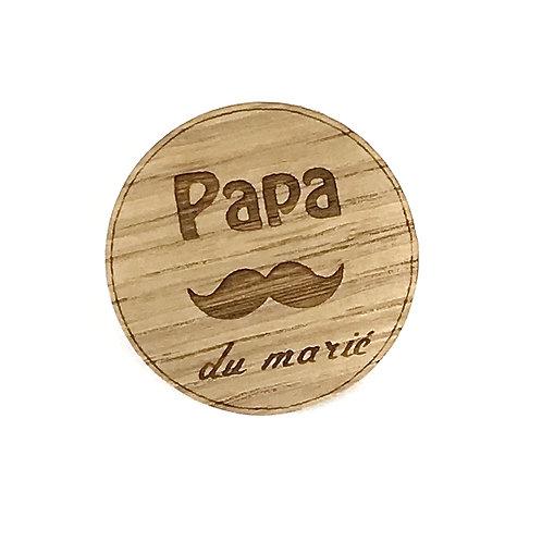 Badge en bois Papa du marié