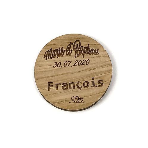 Badge en bois mariage personnalisable