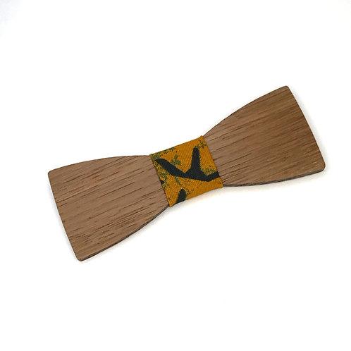 "Nœud papillon Wax ""Le Dandy"" - chêne massif et tissu WAX afro sun"