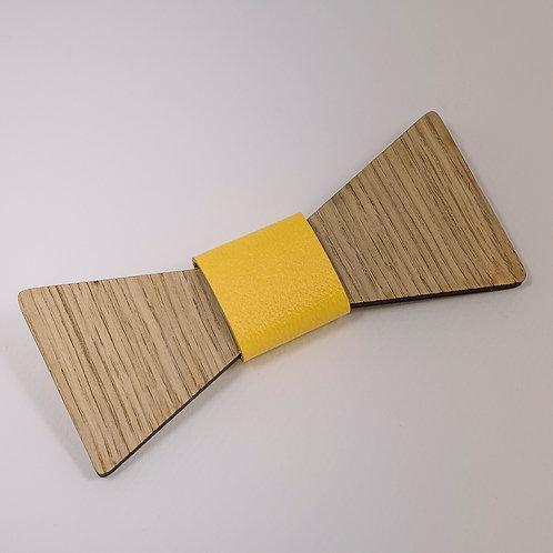 Noeud pap bois cuir jaune