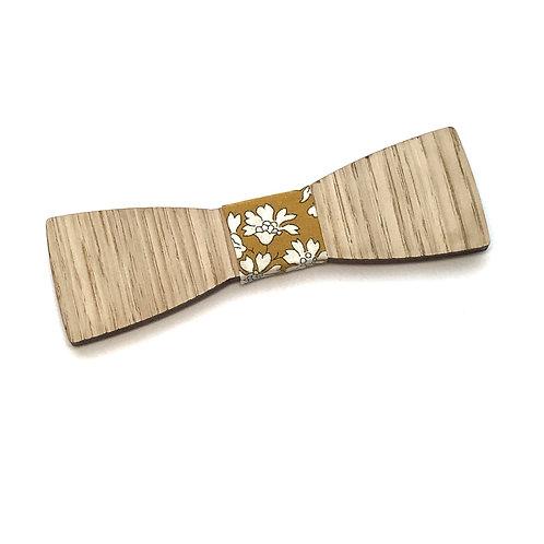 Noeud Papillon en bois de chêne, tissus imprimé floral jaune moutarde