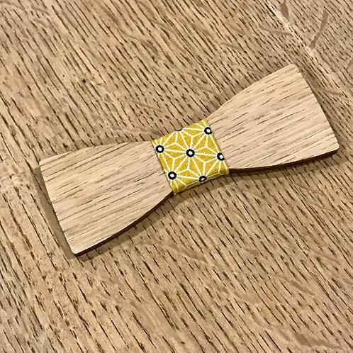 Noeud Papillon en bois Le Dandy, chêne, tissu