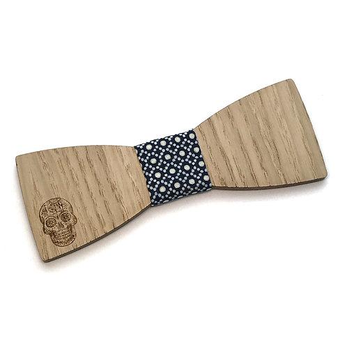 Noeud Papillon en bois Le Droit, chêne, tissu Wax, motif Tête de mort mexicaine