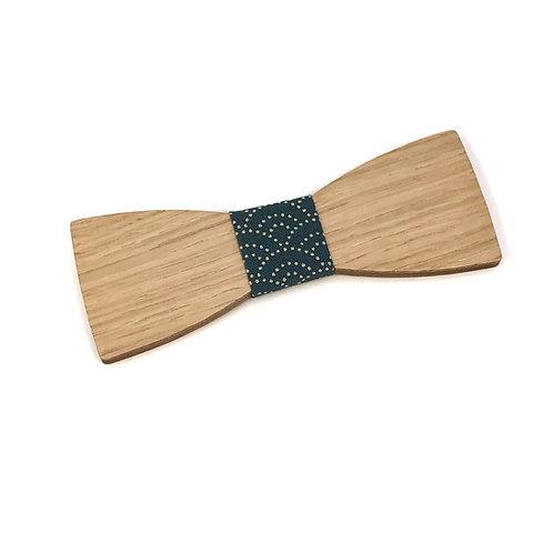 Noeud pap bois et tissu japonais bleu canard