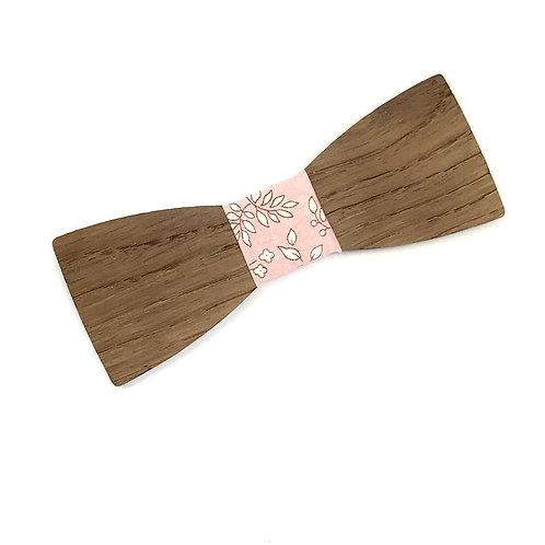 """Nœud Pap """"Le Dandy"""" - Chêne massif et tissu liberty capel rose"""