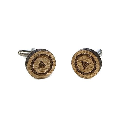 Boutons de manchette en bois motif Play