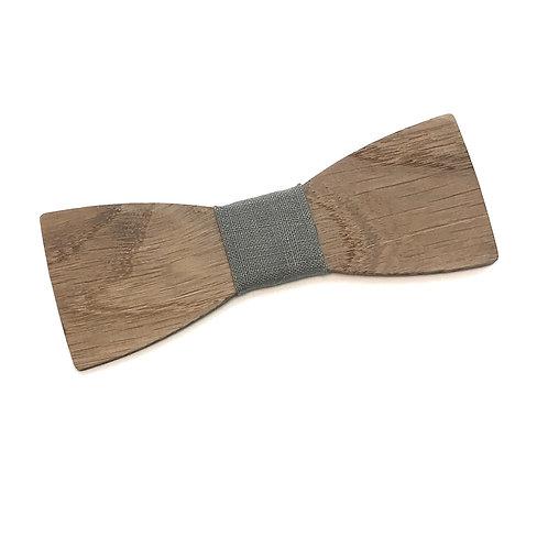 Noeud Papillon en bois chêne massif recyclé et tissu lin recyclé